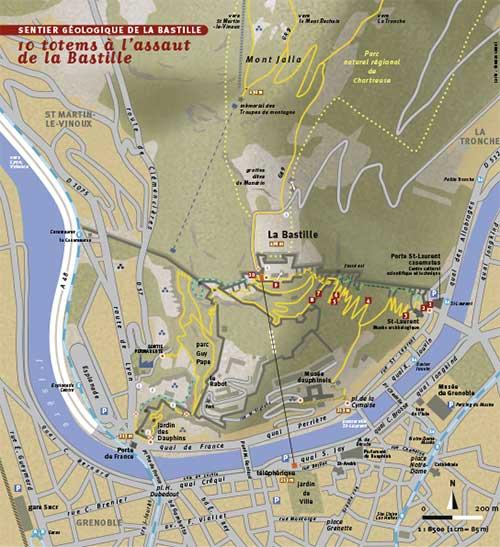 Carte Sentiers parcours sportifs téléphérique Grenoble Bastille