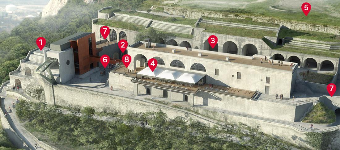 Plan de situation des activités et services du Fort de la Bastille